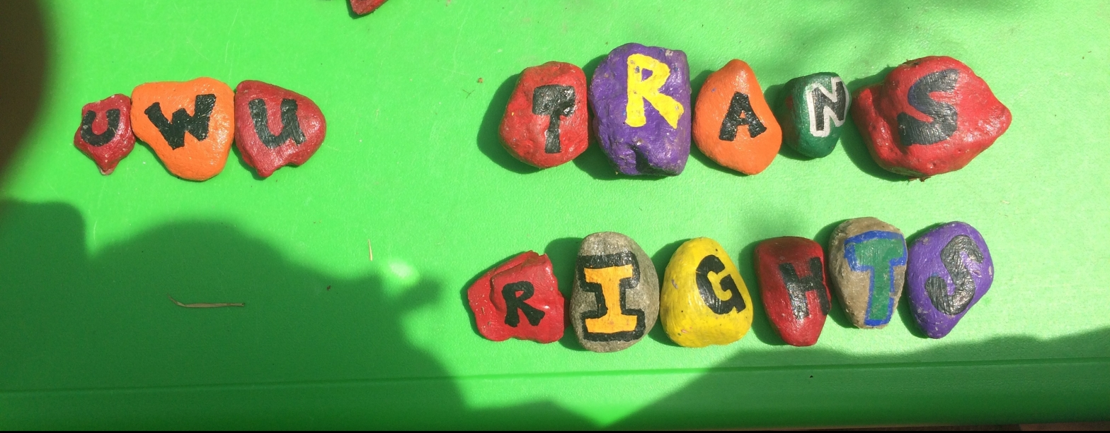 """Painted rocks lined up to spell """"uwu"""" and """"trans rights"""""""