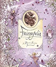 """A purple, florally-printed book, dotted at the edges with abstractly-drawn fairies. In the middle is the title """"Fairyopolis,"""" written in calligraphy as if on a scroll."""