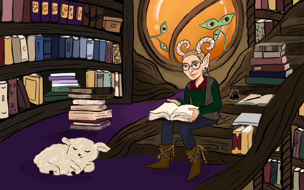 An illustration of Cavar, with elf ears and horns, sitting on wooden stairs and reading a book. They are in a full library; near them is a sleeping lamb.